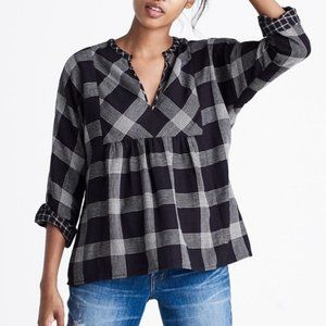 Madewell Plaid Boheme Popover Top Oversized XS